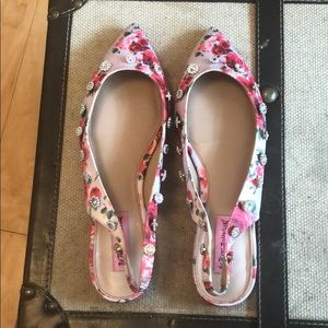 Betsey Johnson Floral Flats with rhinestones!